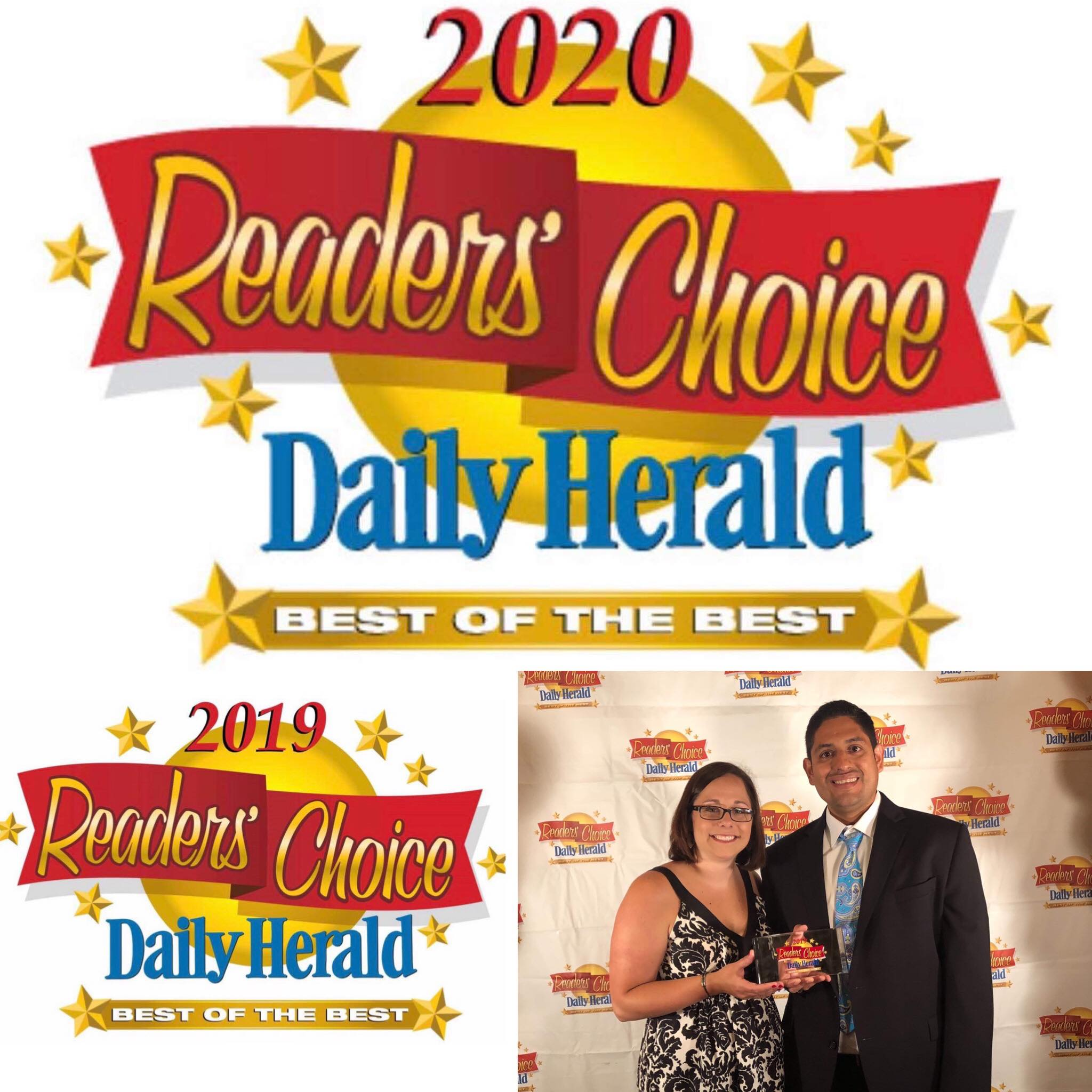 "2020 and 2019  Daily Herald Reader's Choice Best of the Best in the Category of ""Best Chiropractor"""
